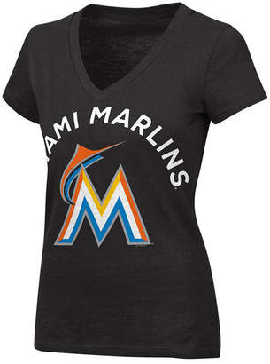 G-iii Sports Women's Miami Marlins Classic Logo V-Neck T-Shirt