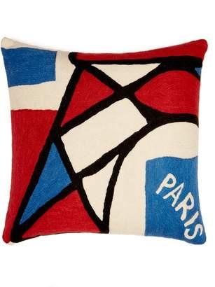 Kilometre paris Kilometre Paris - Avenue Pierre Loti Embroidered Cotton Cushion - Multi