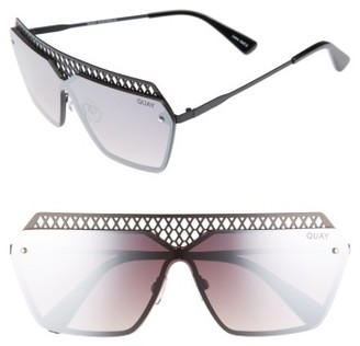 Women's Quay Australia X Jasmine Sanders Hall Of Fame 68Mm Shield Sunglasses - Black/ Mirror $55 thestylecure.com