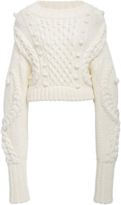 Oscar de la Renta Cropped Cable-Knit Wool-Blend Sweater