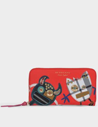 Burberry Elmore Zipped Wallet in Orange Red Grained Calfskin