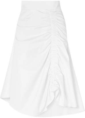 Sid Neigum - Ruched Cotton-blend Midi Skirt - White