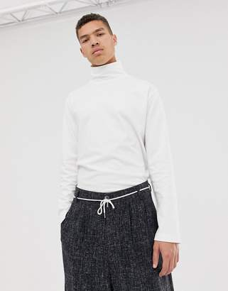 Asos loose fit long sleeve t-shirt with turtle neck in white