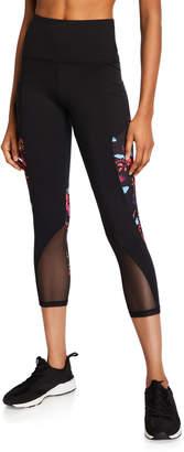 Marika Tek Mckenna Floral Print Mesh Mid Calf Capri Leggings