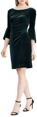 Ralph Lauren Bell-Sleeve Velvet Dress