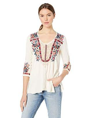 Johnny Was JWLA By Women's 3/4 Sleeve Knit Drape Top with Embroidery