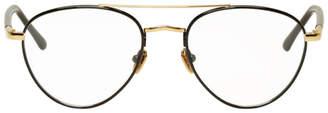 Linda Farrow Luxe Gold and Black 954 C8 Aviator Glasses