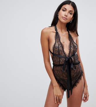 Asos Tall DESIGN Tall Amy ring back ribbon bodysuit c7f55c4ab