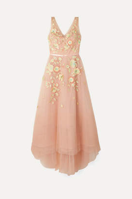 Marchesa Embellished Embroidered Tulle Gown - Blush