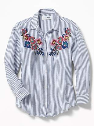 Old Navy Floral-Embroidered Boyfriend Shirt for Girls