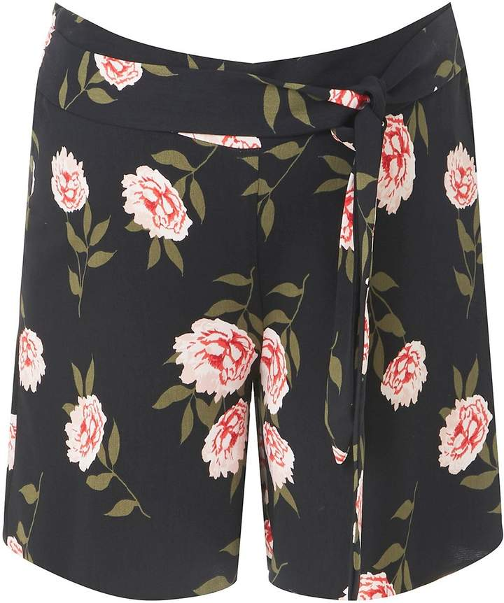 Dorothy Perkins **Maternity Black Floral Tie Detail Shorts