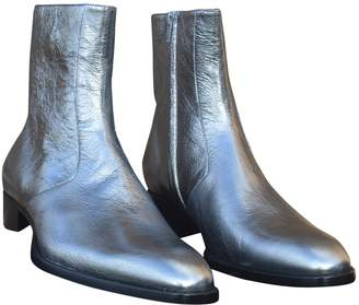 Saint Laurent Silver Leather Boots