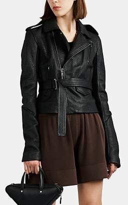 Rick Owens Women's Leather Belted Moto Jacket - Black