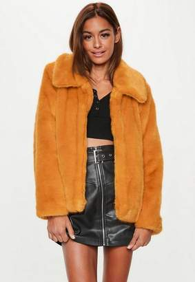 Missguided Mustard Faux Fur Collar Crop Coat, Mustard