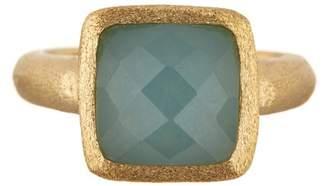 Rivka Friedman 18K Gold Clad Faceted Caribbean Blue Quartzite Cabochon Ring $145 thestylecure.com