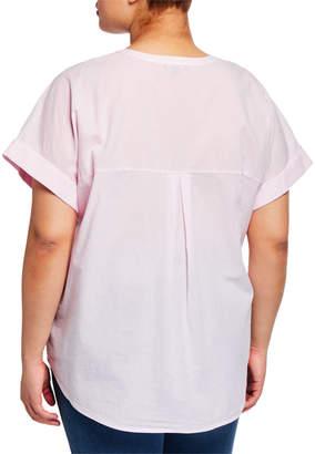 NYDJ Short-Sleeve Button-Down Blouse, Plus Size