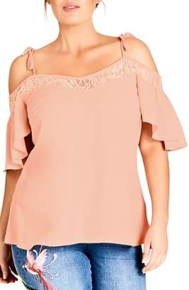 City Chic Lace Trim Off-Shoulder Top