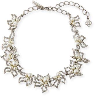 Oscar de la Renta Pave Petal Collar Necklace