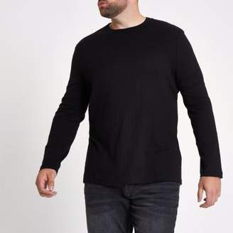River Island Mens Big and Tall black rib crew neck T-shirt