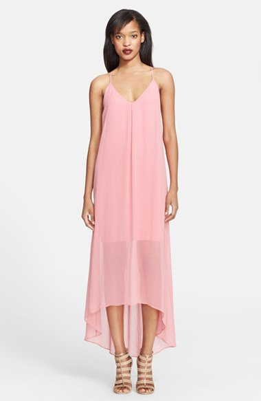 Alice + Olivia 'Vandy' High/Low Chiffon Slip Dress