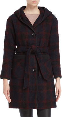 Lucky Brand Plaid Belted Hooded Coat
