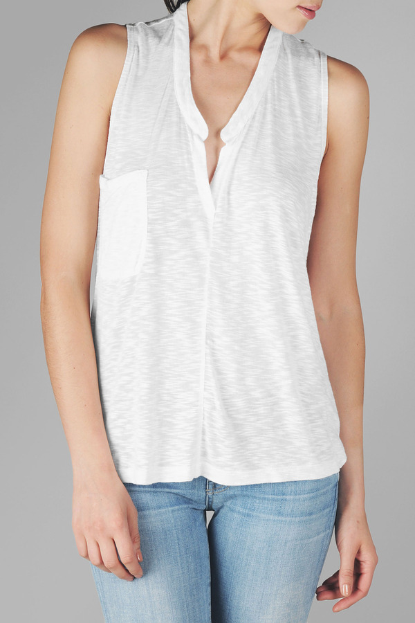 Pocket Henley Tank In Blanc De Blanc