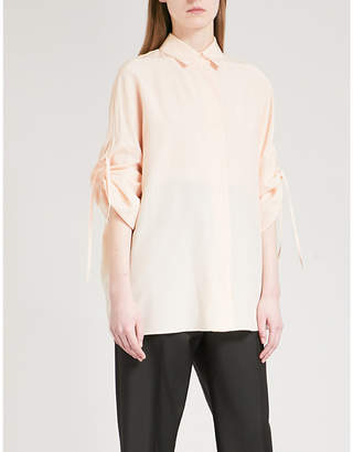 Jil Sander Ruched-sleeve silk shirt