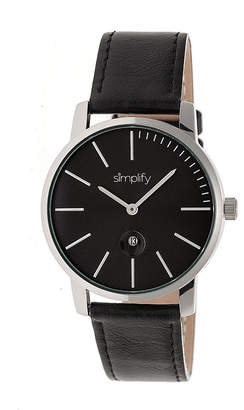 Simplify The 4700 Unisex Adult Black Leather Strap Watch-Sim4702