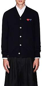 Comme des Garcons Men's Heart-Patch Wool Cardigan - Navy