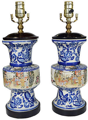 One Kings Lane Vintage Blue & White Lamps - Set of 2 - FEA Home