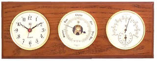 Bey-Berk Wall Clock with Barometer, Thermometer and Hygrometer