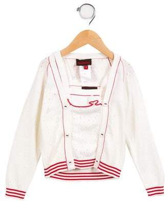 Catimini Girls' Layered Open Knit Cardigan