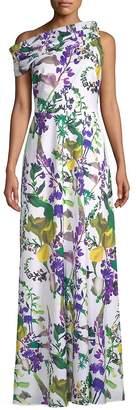 Kay Unger Women's Printed One-Shoulder Dress