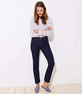 LOFT Tall Modern Straight Leg Jeans in Dark Rinse Wash