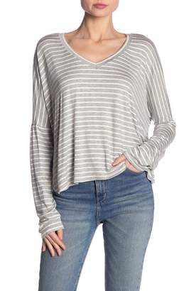 Project Social T Striped V-Neck Dolman Sleeve Tee