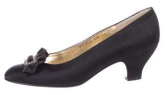 Salvatore Ferragamo Satin Round-Toe Pumps