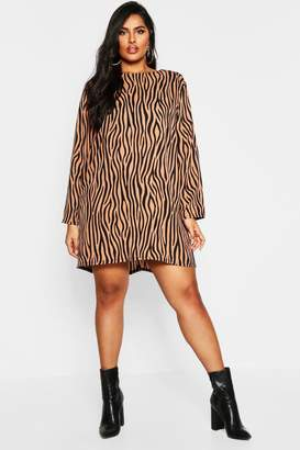 boohoo Plus Long Sleeve Zebra Print Shift Dress