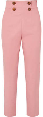 Sara Battaglia Button-detailed Stretch-crepe Straight-leg Pants - Pink
