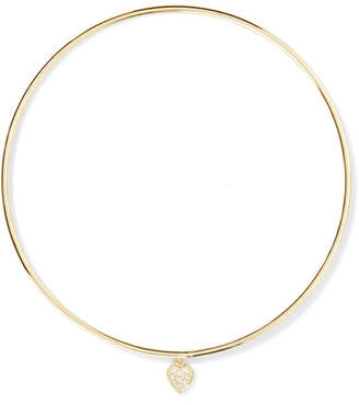 Mini Heart 18-karat Gold Diamond Bangle