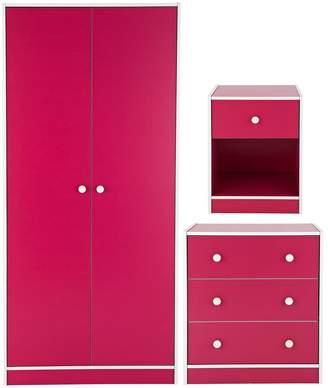 Kidspace Boston Kids Bedroom Furniture Package - 2 Door Wardrobe, 3 Drawer Chest and Bedside Cabinet