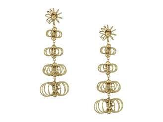 Kenneth Jay Lane 3 Gold Open Wire Flowers Post Earrings