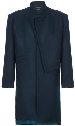 He & DeFeber - Dark Green Asymmetrical Front Deconstructed Wool Overcoat