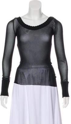 Jean Paul Gaultier Knit-Trimmed Semi-Sheer Top
