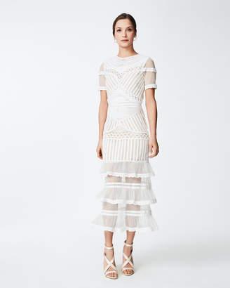 Nicole Miller Beaded Crochet Midi Dress
