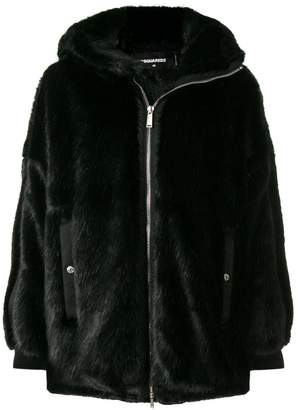 DSQUARED2 faux fur hooded coat