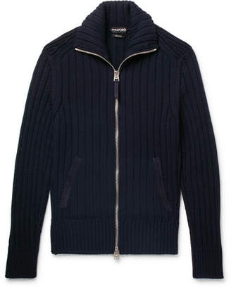 Tom Ford Suede-Trimmed Wool Zip-Up Cardigan - Midnight blue