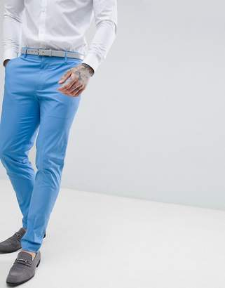 Asos DESIGN Wedding Skinny Suit Pants In Stretch Cotton In Sky Blue