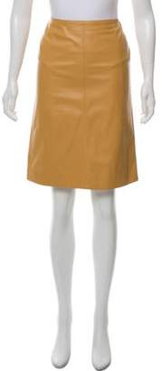 Chanel Leather Knee-Length Skirt Tan Leather Knee-Length Skirt