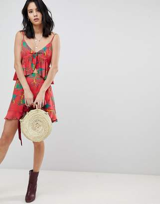 Honey Punch Mini Skirt With Ruffle Detail In Tropical Print Two-Piece