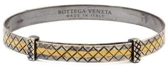 Bottega Veneta Intrecciato Engraved Sterling Silver Bracelet - Mens - Silver Multi